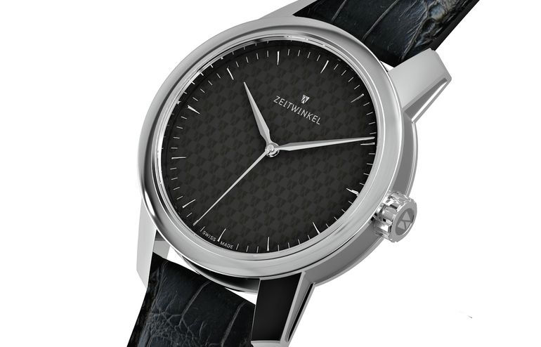 Hand-assembled Swiss watch Zeitwinkel 082° with manufacture caliber ZW0102