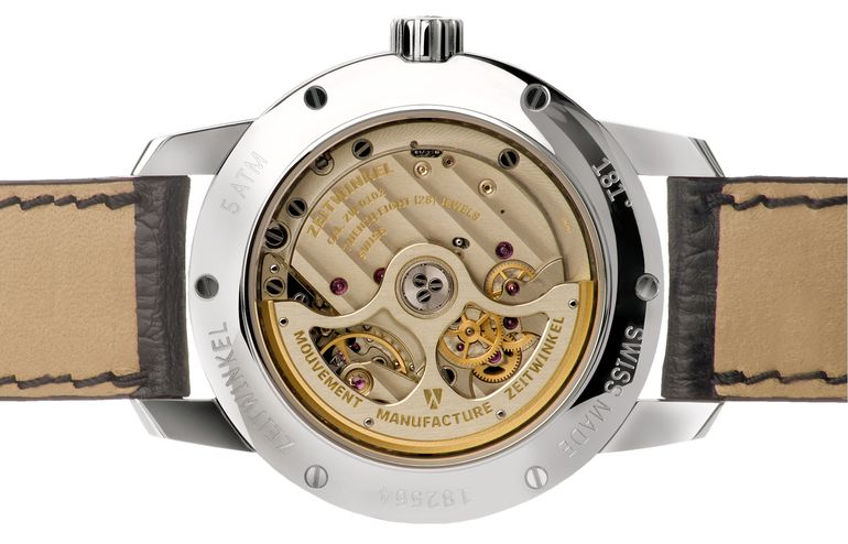 Zeitwinkel manufacture movement with 72 hours power reserve and plates and bridges made from German Silver