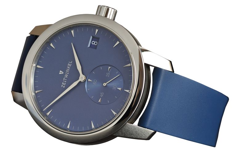 Zeitwinkel manufacture watch with blue dial and blue rubber strap